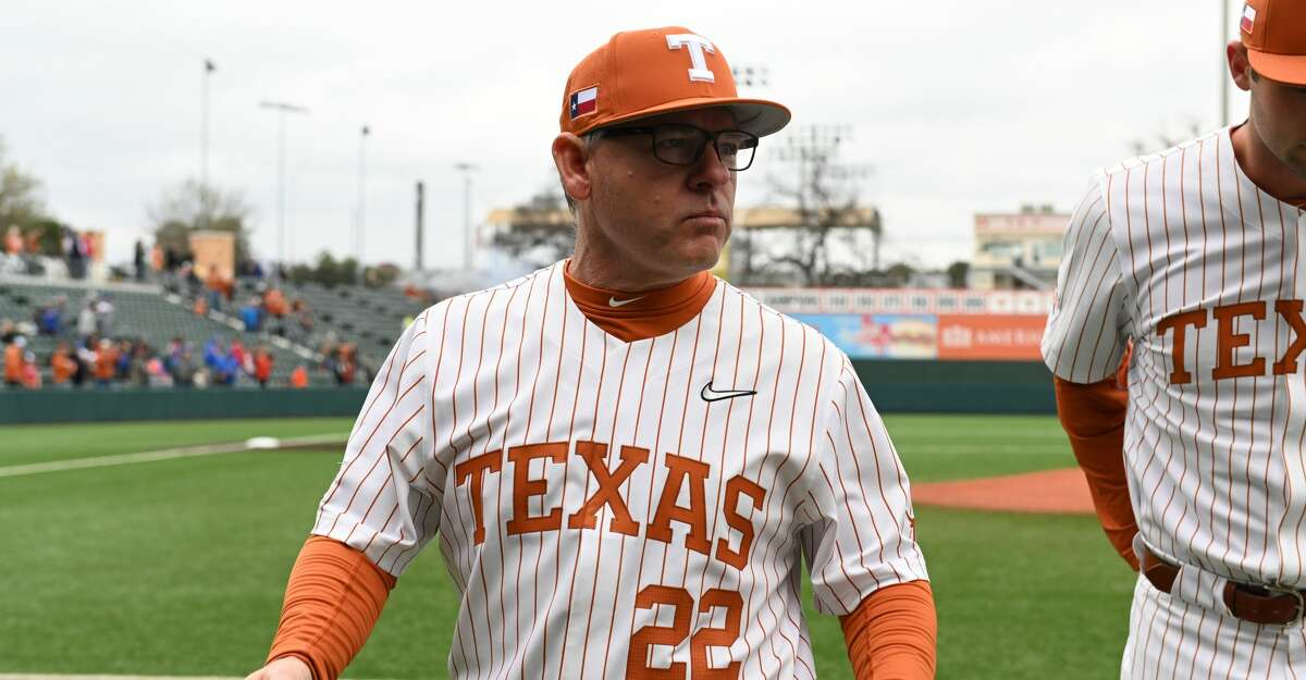 Texas Longhorns head coach David Pierce (22) gets ready for action prior to start of game against the Boise State Broncos on February 23, 2020 at UFCU Disch-Falk Field in Austin, TX. (Photo by John Rivera/Icon Sportswire via Getty Images)