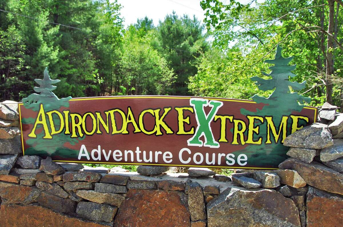 Sign at entrance to Adirondack Extreme Adventure Course in Bolton Landing, 2008.