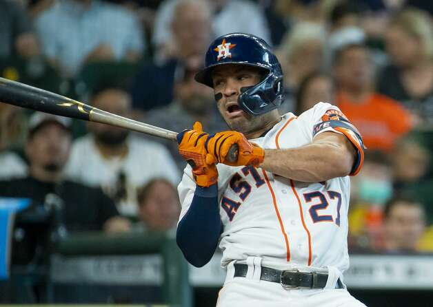 Houston Astros second baseman Jose Altuve (27) reacts as he is hit by a pitch during the fifth inning of an MLB game between the Houston Astros and San Diego Padres on Saturday, May 29, 2021, at Minute Maid Park in Houston. Photo: Mark Mulligan/Staff Photographer / © 2021 Mark Mulligan / Houston Chronicle
