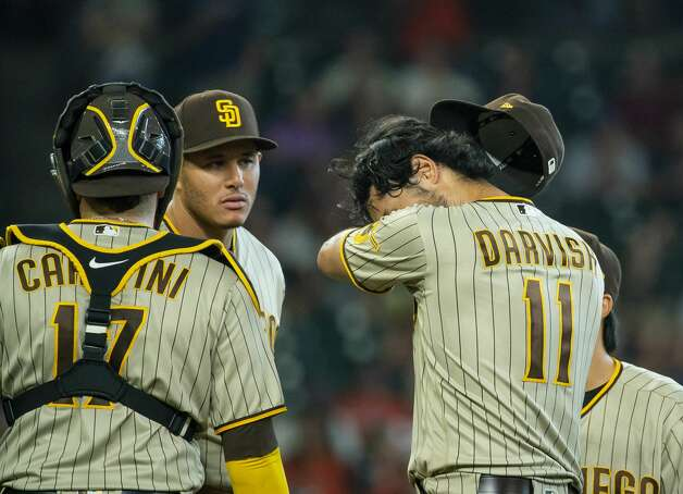 San Diego Padres starting pitcher Yu Darvish (11) reacts during the fifth inning of an MLB game between the Houston Astros and San Diego Padres on Saturday, May 29, 2021, at Minute Maid Park in Houston. Photo: Mark Mulligan/Staff Photographer / © 2021 Mark Mulligan / Houston Chronicle