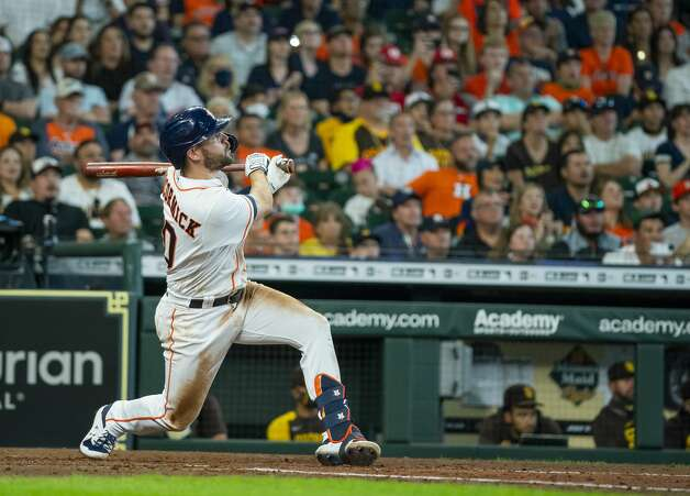 Houston Astros right fielder Chas McCormick (20) drives in a run with a sacrifice fly during the fifth inning of an MLB game between the Houston Astros and San Diego Padres on Saturday, May 29, 2021, at Minute Maid Park in Houston. Photo: Mark Mulligan/Staff Photographer / © 2021 Mark Mulligan / Houston Chronicle