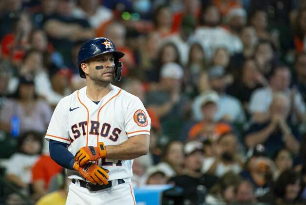 Houston Astros second baseman Jose Altuve (27) strikes out to end the third inning during an MLB game between the Houston Astros and San Diego Padres on Saturday, May 29, 2021, at Minute Maid Park in Houston. Photo: Mark Mulligan/Staff Photographer / © 2021 Mark Mulligan / Houston Chronicle