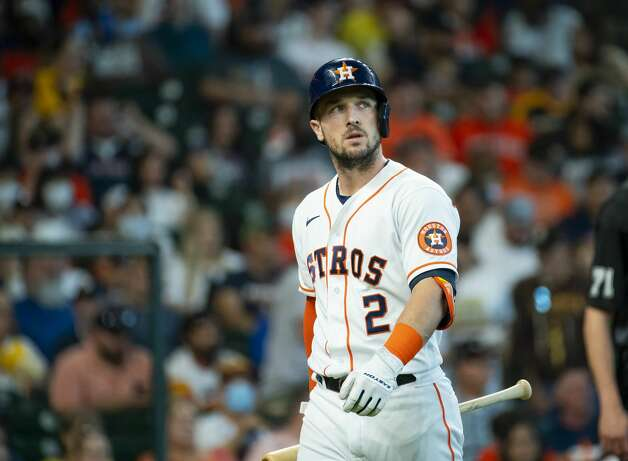 Houston Astros third baseman Alex Bregman (2) reacts after striking out during the first inning of an MLB game between the Houston Astros and San Diego Padres on Saturday, May 29, 2021, at Minute Maid Park in Houston. Photo: Mark Mulligan/Staff Photographer / © 2021 Mark Mulligan / Houston Chronicle