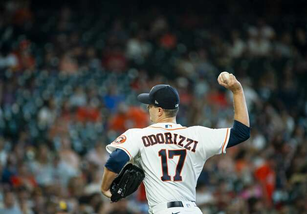 Houston Astros starting pitcher Jake Odorizzi (17) pitches during the third inning of an MLB game between the Houston Astros and San Diego Padres on Saturday, May 29, 2021, at Minute Maid Park in Houston. Photo: Mark Mulligan/Staff Photographer / © 2021 Mark Mulligan / Houston Chronicle