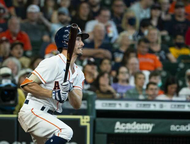 Houston Astros catcher Garrett Stubbs (11) grounds out during the third inning of an MLB game between the Houston Astros and San Diego Padres on Saturday, May 29, 2021, at Minute Maid Park in Houston. Photo: Mark Mulligan/Staff Photographer / © 2021 Mark Mulligan / Houston Chronicle