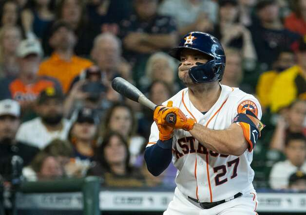 Houston Astros second baseman Jose Altuve (27) reacts to a pitch during the first inning of an MLB game between the Houston Astros and San Diego Padres on Saturday, May 29, 2021, at Minute Maid Park in Houston. Photo: Mark Mulligan/Staff Photographer / © 2021 Mark Mulligan / Houston Chronicle