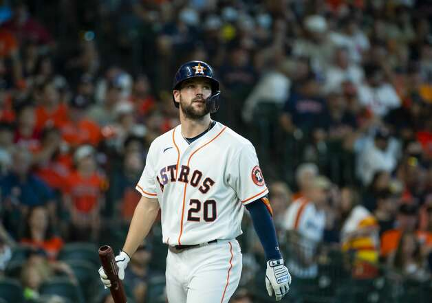 Houston Astros right fielder Chas McCormick (20) reacts after striking out during the first inning of an MLB game between the Houston Astros and San Diego Padres on Saturday, May 29, 2021, at Minute Maid Park in Houston. Photo: Mark Mulligan/Staff Photographer / © 2021 Mark Mulligan / Houston Chronicle