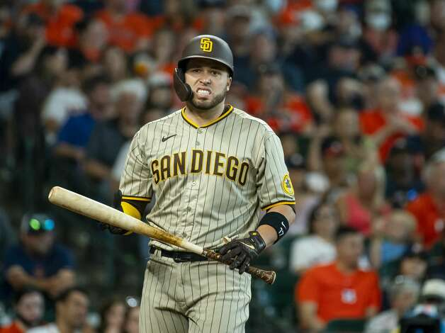 San Diego Padres catcher Victor Caratini (17) reacts to a strike during the seventh inning of an MLB game between the Houston Astros and San Diego Padres on Saturday, May 29, 2021, at Minute Maid Park in Houston. Photo: Mark Mulligan/Staff Photographer / © 2021 Mark Mulligan / Houston Chronicle