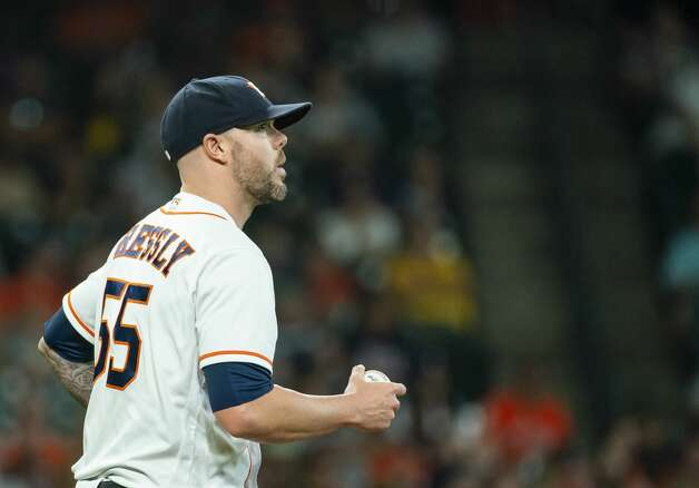 Houston Astros relief pitcher Ryan Pressly (55) walks back to the mound after coming in to pitch during the eighth inning of an MLB game between the Houston Astros and San Diego Padres on Saturday, May 29, 2021, at Minute Maid Park in Houston. Photo: Mark Mulligan/Staff Photographer / © 2021 Mark Mulligan / Houston Chronicle