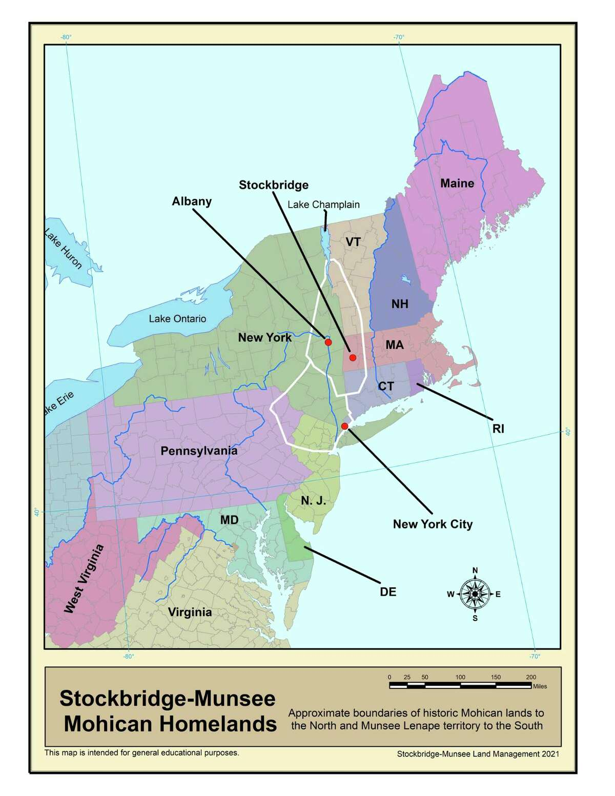 Map showing the traditional territories of the Stockbridge-Munsee band of Mohican Indians and associated Native American nations