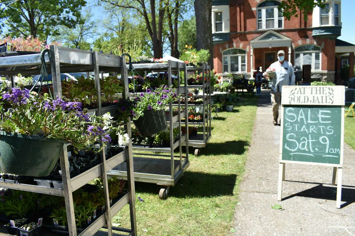The Big Rapids Garden Club hosted a Memorial Day garden sale behind the old jail on Stewart Avenue that featured various plants for sale as well as several tables of garage items to be sold.