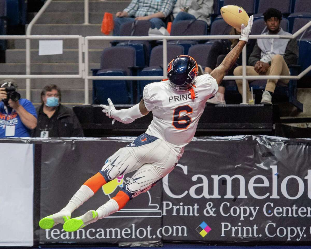 Albany Empire receiver Darius Prince makes a one-handed touchdown catch against the Columbus Lions during the opener of the National Arena League football season at the Times Union Center in Albany, NY, on Saturday, May 29, 2021 (Jim Franco/Special to the Times Union)