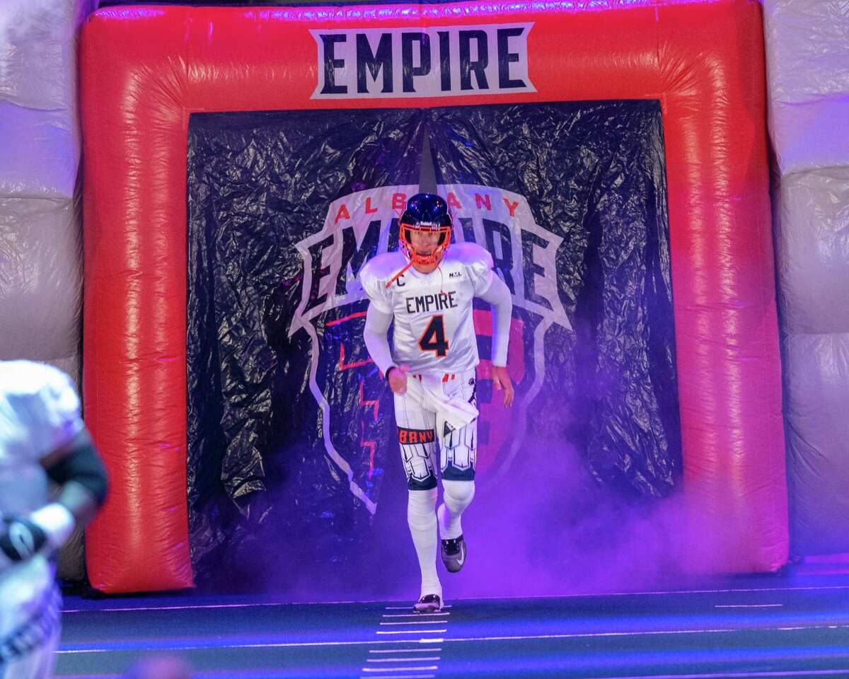 Albany Empire quarterback Tommy Grady takes the field during the season opener of the National Arena League Football season against the Columbus Lions at the Times Union Center in Albany, NY, on Saturday, May 29, 2021 (Jim Franco/Special to the Times Union)
