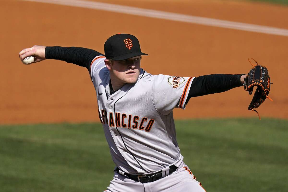 San Francisco Giants starting pitcher Logan Webb throws to the plate during the first inning of a baseball game against the Los Angeles Dodgers Saturday, May 29, 2021, in Los Angeles. (AP Photo/Mark J. Terrill)