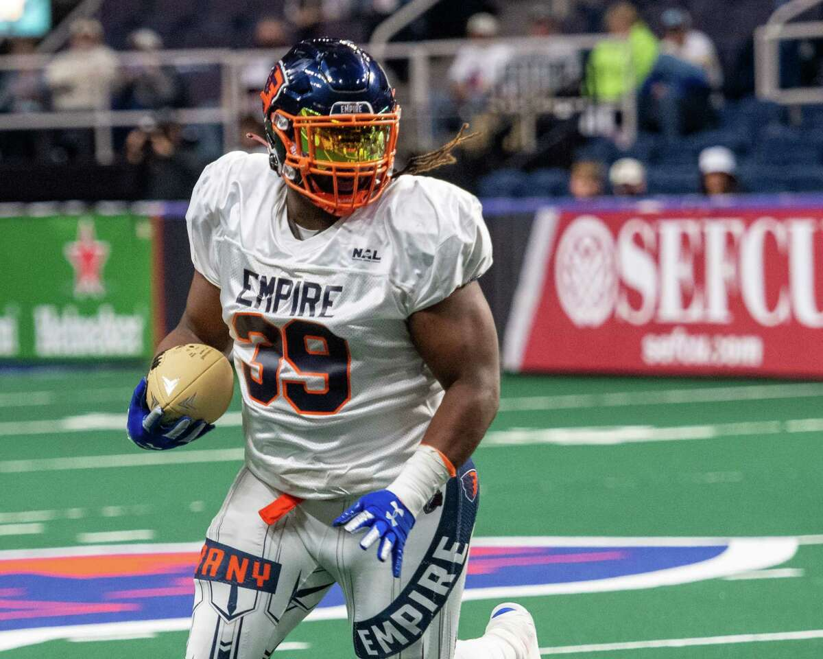 Albany Empire fullback Derrick Ross against the Columbus Lions during the opener of the National Arena League football season at the Times Union Center in Albany, NY, on Saturday, May 29, 2021 (Jim Franco/Special to the Times Union)