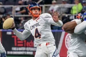 Albany Empire quarterback Tommy Grady during the season opener of the National Arena League Football season against the Columbus Lions at the Times Union Center in Albany, NY, on Saturday, May 29, 2021 (Jim Franco/Special to the Times Union)