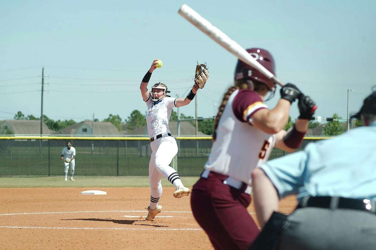Clear Springs' Emma Strood (13) pitches to Deer Park's Emma Overla (5) Saturday, May 29 at Shadow Creek High School.