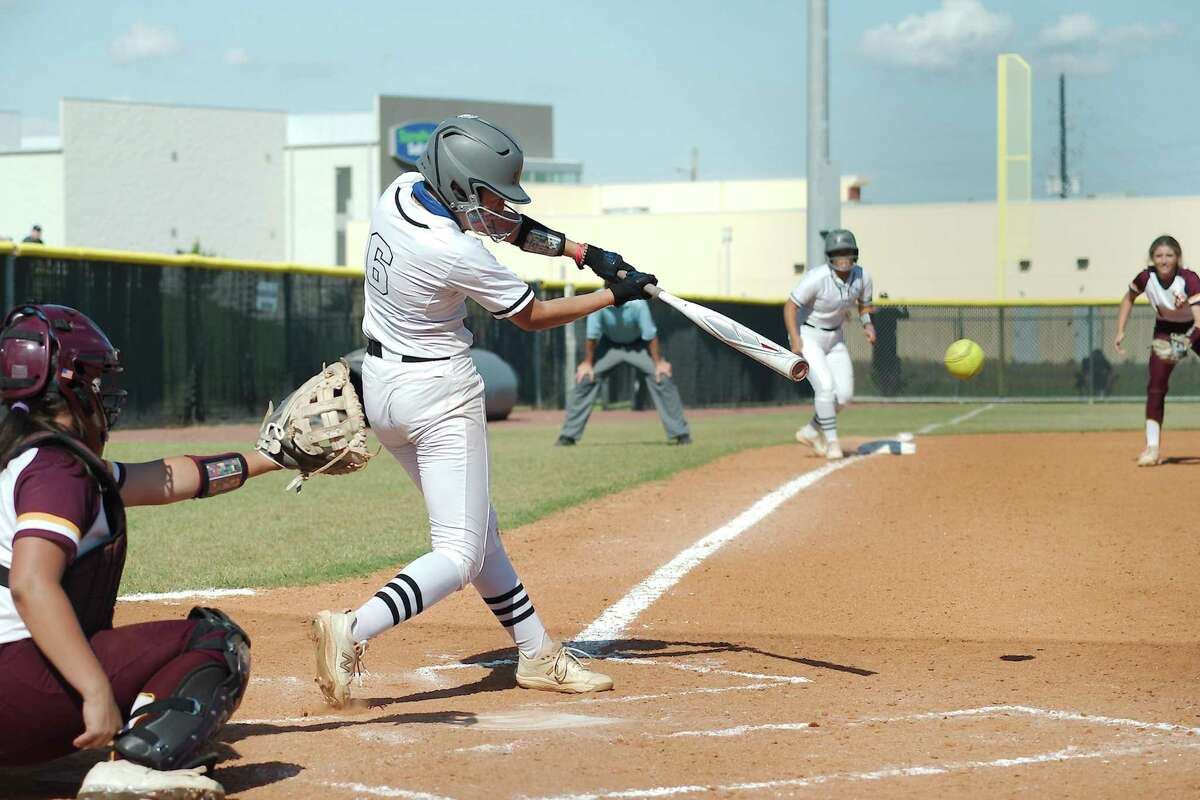 Clear Springs' Ashley Walker (6) bats to drive in the tying run and the go-ahead run against Deer Park Saturday, May 29 at Shadow Creek High School.