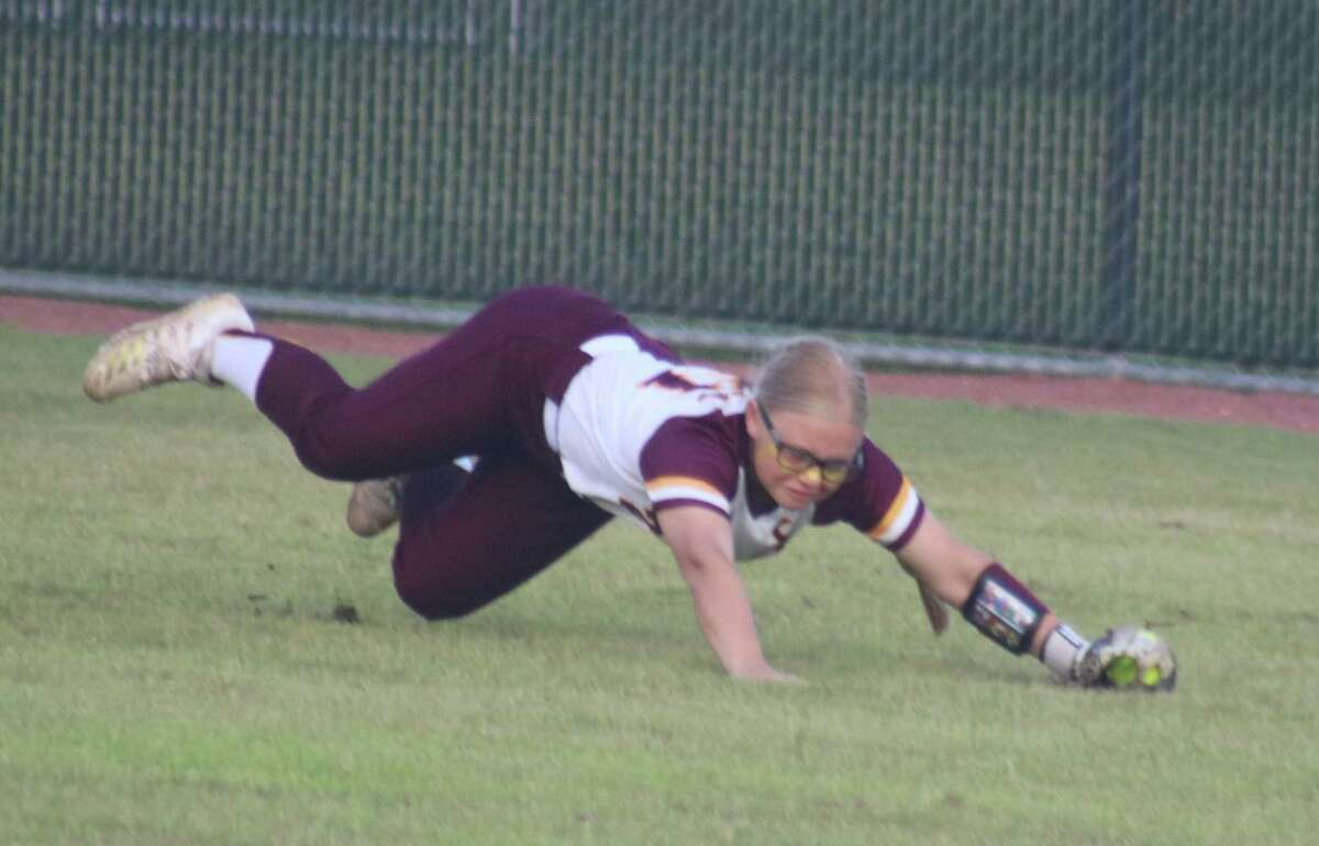 Centerfielder Tabby Bailey robs Emma Strood of extra bases with this gem of a catch to end the first inning Saturday night. Bailey accounted for one out in every inning but the second.