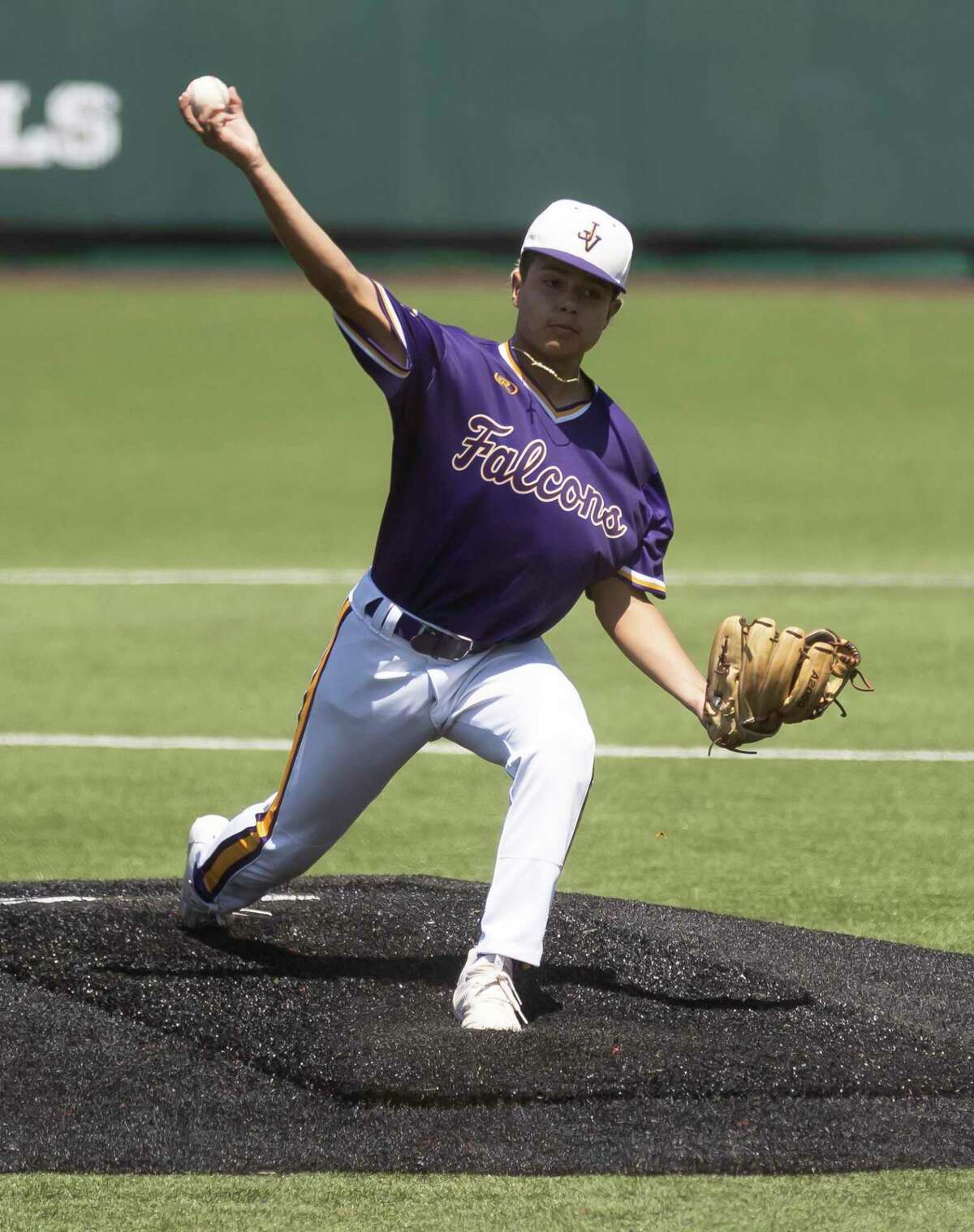 Jersey Village starting pitcher Raydon Arroyo (28) throws during the third inning of the Region III-6As semifinal series against Pearland at Darryl & Lori Schroeder Park, Saturday, May 29, 2021, in Houston.