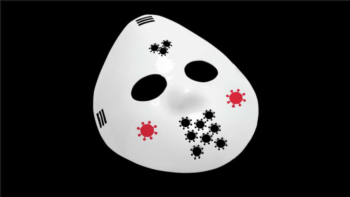 An illustration of a hockey mask with COVID-19-shaped holes.