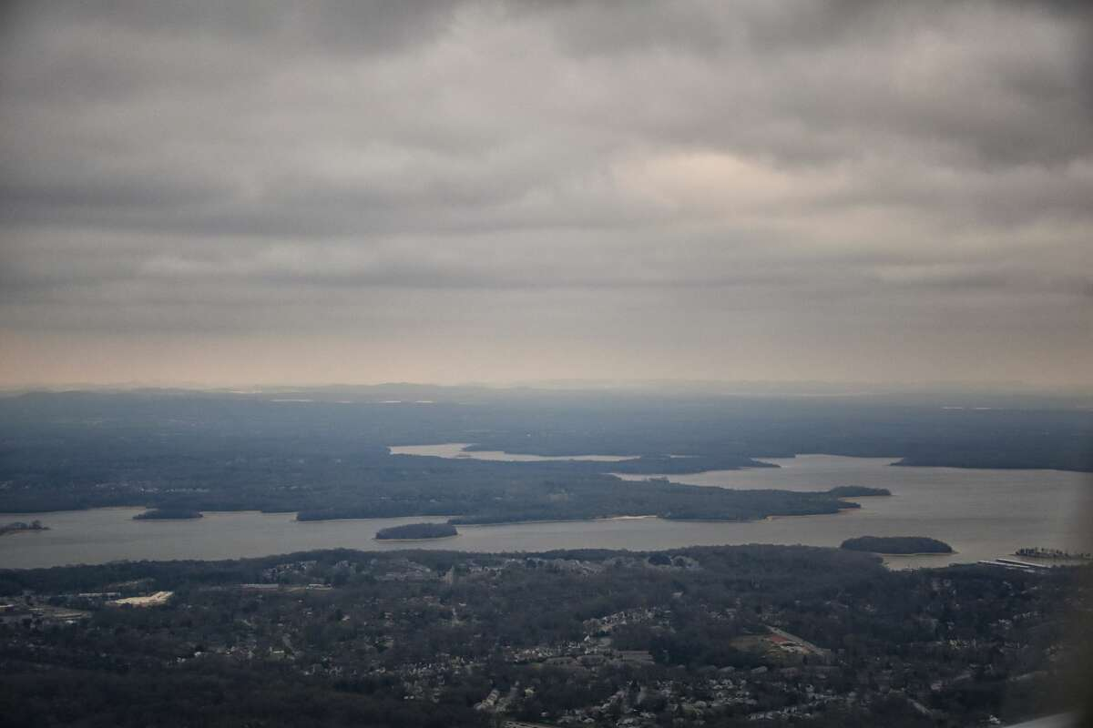 An aerial view of J. Percy Priest Reservoir outside of Nashville Tennessee.