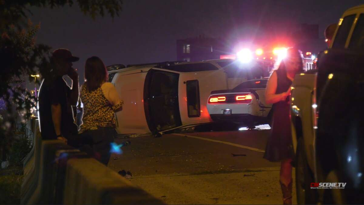 A person in a Dodge Hellcat was in a high speed accident that killed two people and sent four to the hospital with serious injuries early Sunday morning.