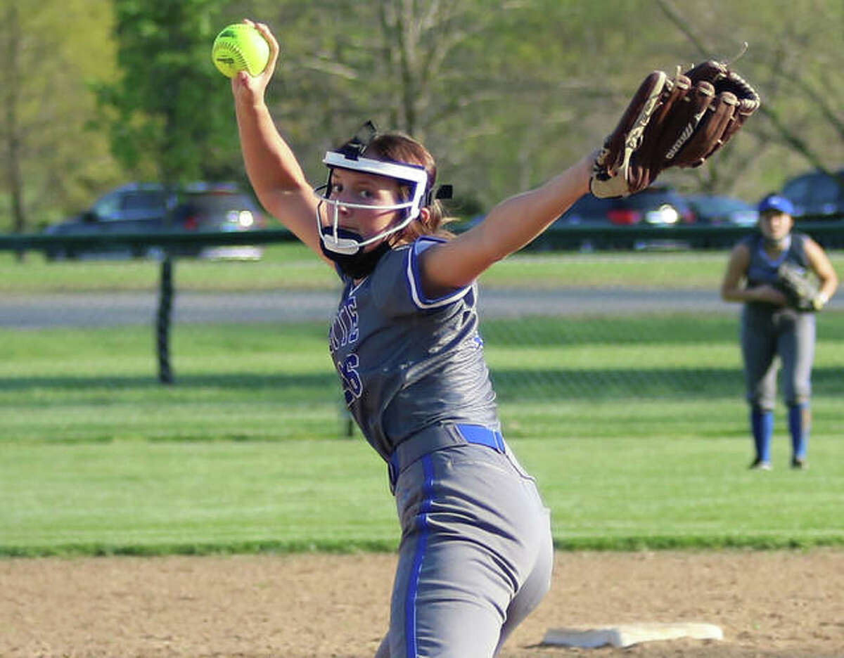 Marquette Catholic's Lauren threw a five-inning no-hitter Saturday against Roxana at Roxana Park. The Explorers sophomore is shown in a game earlier this season.