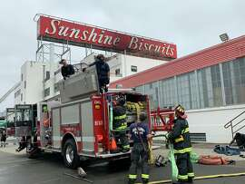 A fire broke out in the Sunshine Biscuits building in Oakland on May 29, 2021.