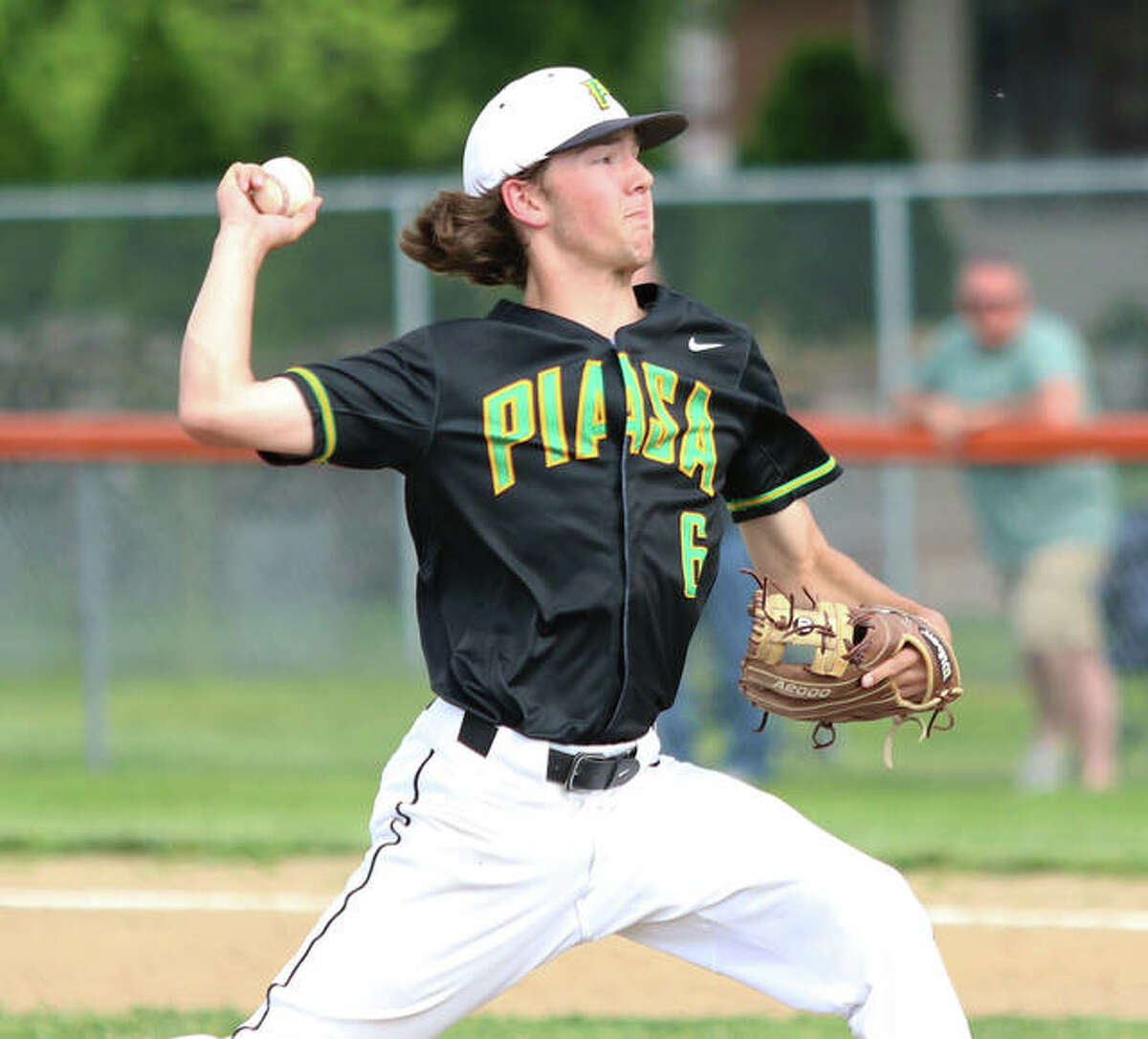 Southwestern's John Watts, shown in a May 24 start at Gillespie, pitched three solid innings of relief but took a loss in a doubleheader swept by Marquette Catholic on Saturday at Hopkins Field in Alton.