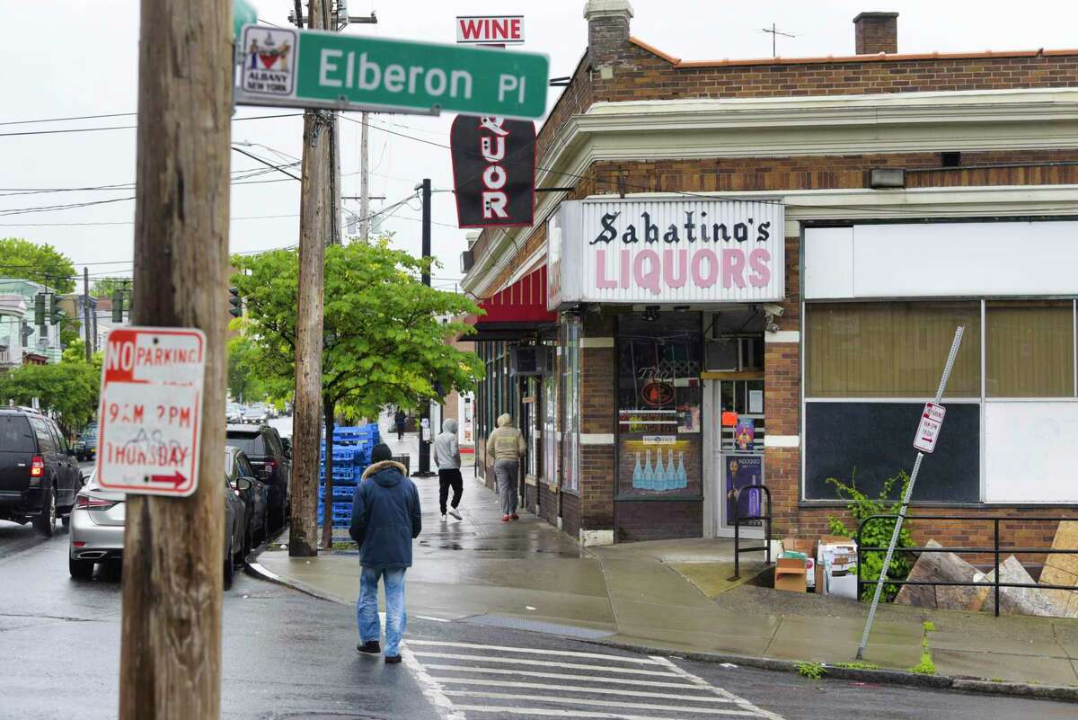 A view of the scene along Quail St. near Elberon Place on Sunday, May 30, 2021, in Albany, N.Y. Police say a 29-year-old man was shot and killed early Sunday morning in this area. (Paul Buckowski/Times Union)
