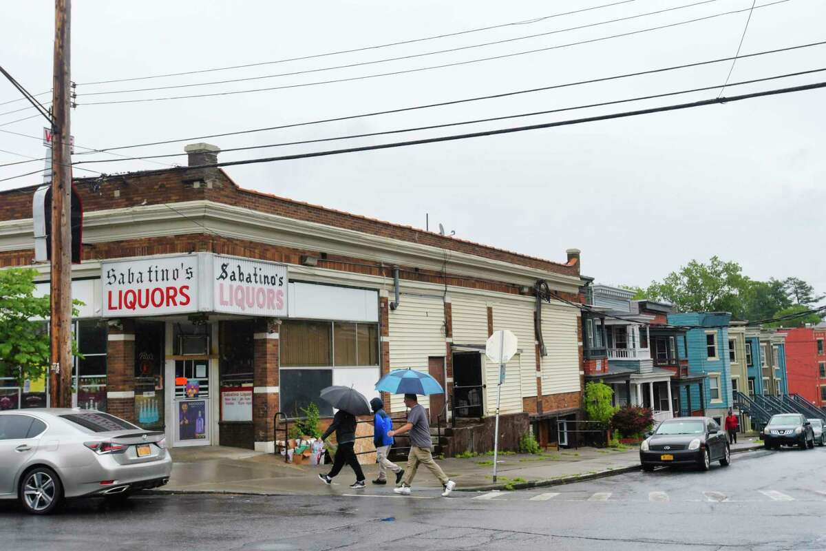 A view of the scene along Quail St. near Elberon Pl. on Sunday, May 30, 2021, in Albany, N.Y. Police say a 29-year-old man was shot and killed early Sunday morning in this area. (Paul Buckowski/Times Union)