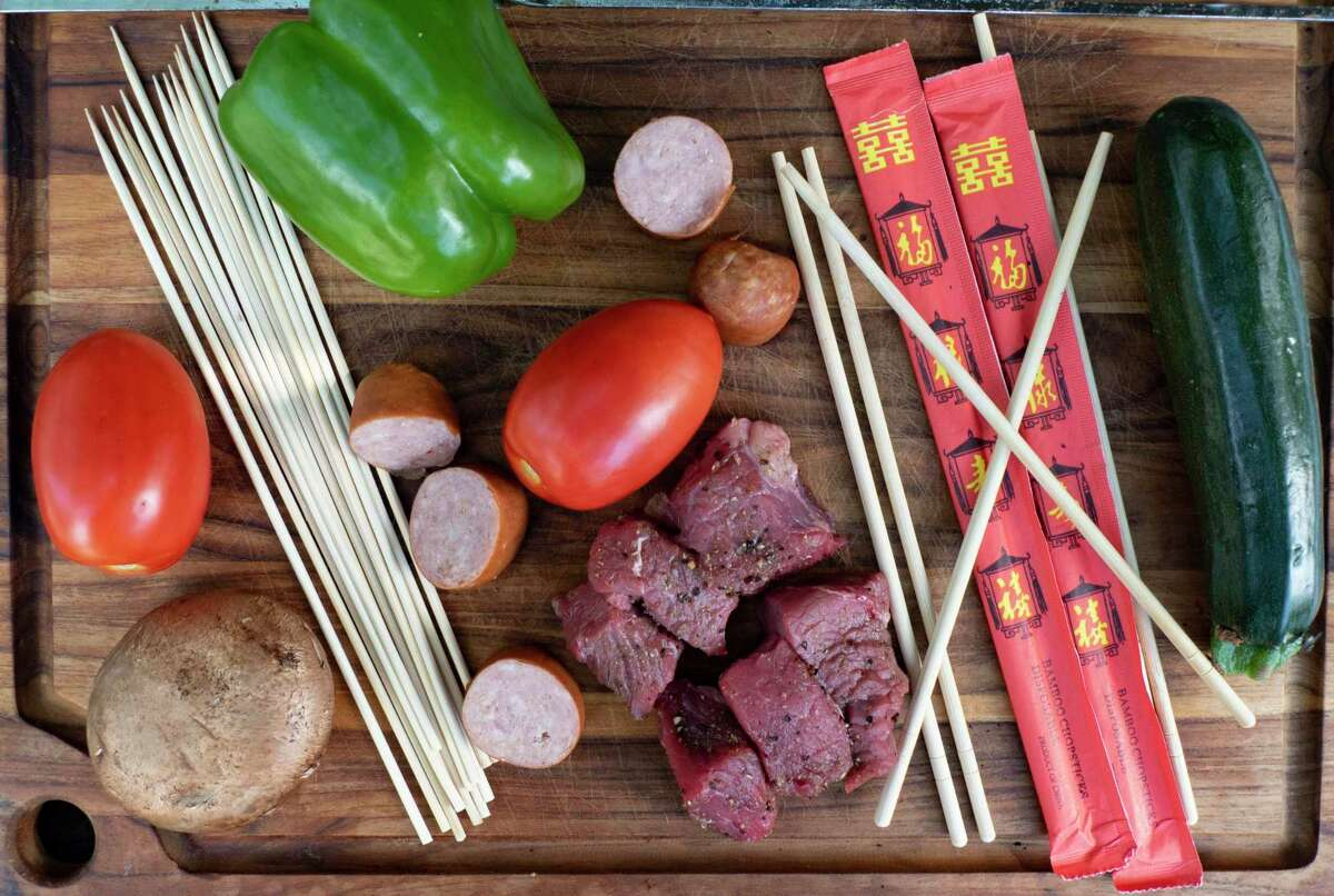 Kabob skewers come in wood and metal forms in various shapes and sizes.