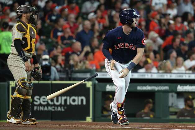 Houston Astros right fielder Kyle Tucker (30) and San Diego Padres catcher Webster Rivas watch the flight of Tucker's 3-run home run during the first inning of a major league baseball game Sunday, May 30, 2021, at Minute Maid Park in Houston. Photo: Brett Coomer, Staff Photographer / © 2021 Houston Chronicle