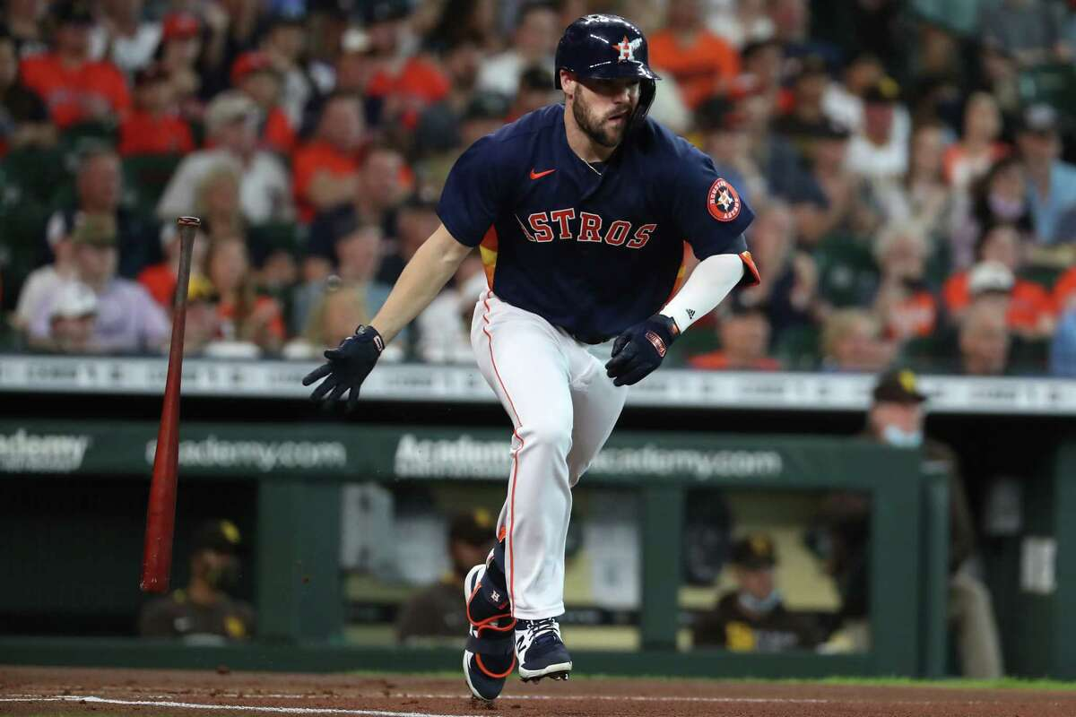 Houston Astros left fielder Chas McCormick singles off San Diego Padres starting pitcher Blake Snell during the first inning of a major league baseball game Sunday, May 30, 2021, at Minute Maid Park in Houston.