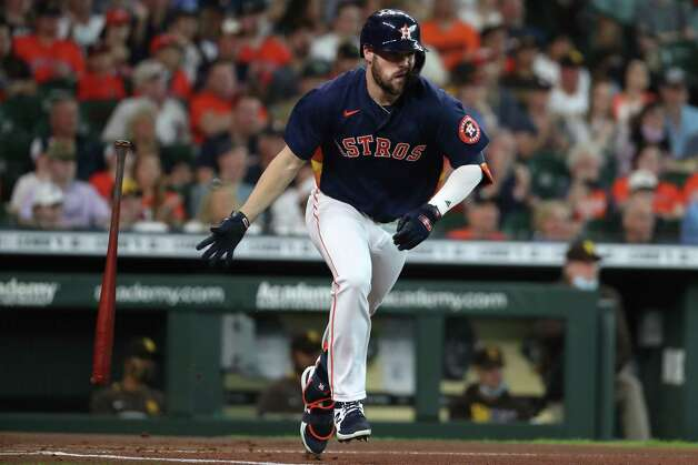 Houston Astros left fielder Chas McCormick  singles off San Diego Padres starting pitcher Blake Snell during the first inning of a major league baseball game Sunday, May 30, 2021, at Minute Maid Park in Houston. Photo: Brett Coomer, Staff Photographer / © 2021 Houston Chronicle