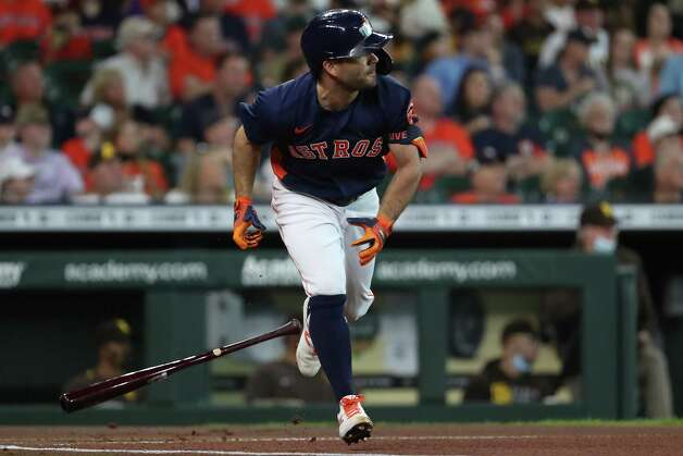 Houston Astros second baseman Jose Altuve (27) singles off San Diego Padres starting pitcher Blake Snell during the first inning of a major league baseball game Sunday, May 30, 2021, at Minute Maid Park in Houston. Photo: Brett Coomer, Staff Photographer / © 2021 Houston Chronicle