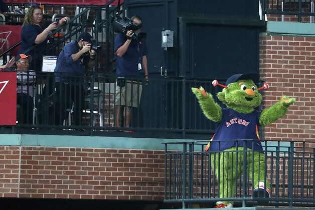 Houston Astros mascot Orbit is introduced as he celebrates his birthday before  a major league baseball game against the San Diego Padres Sunday, May 30, 2021, at Minute Maid Park in Houston. Photo: Brett Coomer, Staff Photographer / © 2021 Houston Chronicle