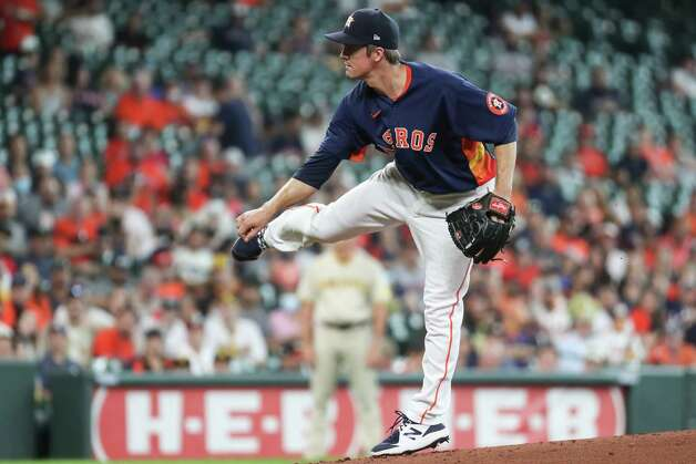 Houston Astros starting pitcher Zack Greinke comes off the mound after throwing a pitch against the San Diego Padres during the first inning of a major league baseball game Sunday, May 30, 2021, at Minute Maid Park in Houston. Photo: Brett Coomer, Staff Photographer / © 2021 Houston Chronicle