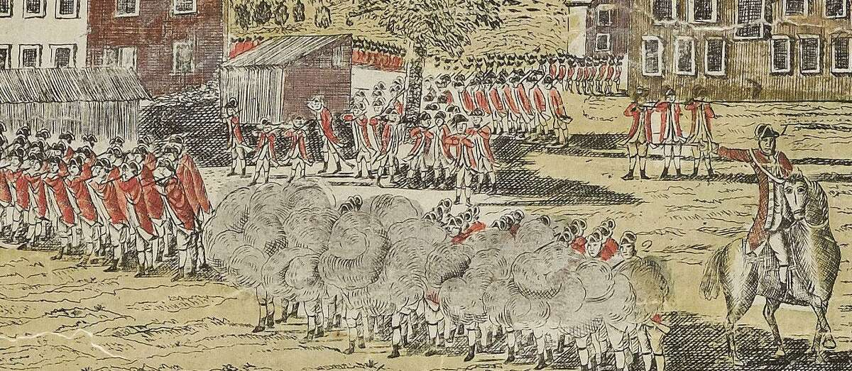 Detail of the Battle of Lexington from the Connecticut Historical Society.