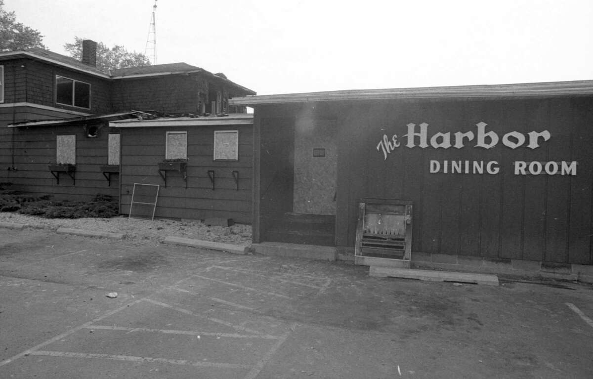 Fire gutted the interior of the Harbor Bar in Onekama this weekend. It is believed that the fire was started by a cigarette. The photo was published in the June 1, 1981 issue of the News Advocate. (Manistee County Historical Museum photo)