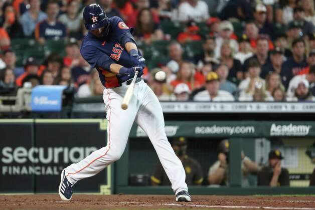 Houston Astros designaged hitter Taylor Jones slaps an RBI single off San Diego Padres starting pitcher Blake Snell during the third inning of a major league baseball game Sunday, May 30, 2021, at Minute Maid Park in Houston. Photo: Brett Coomer, Staff Photographer / © 2021 Houston Chronicle