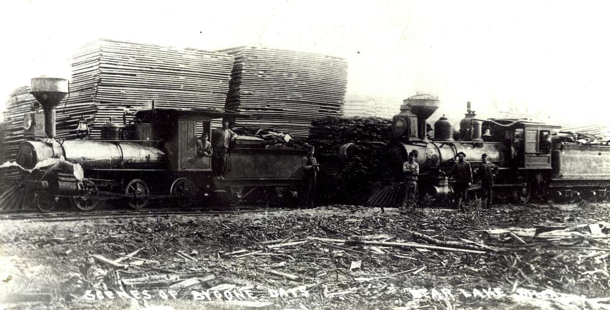 Two of the Bear Lake and Eastern Railroad engines are shown at the Hopkins Mill, in Bear Lake.