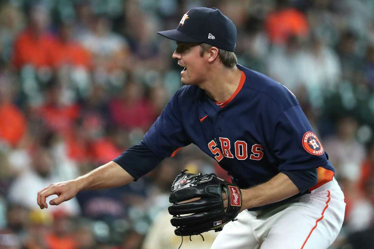 Houston Astros starting pitcher Zack Greinke follows through on a pitch against against the San Diego Padres during the fourth inning of a major league baseball game Sunday, May 30, 2021, at Minute Maid Park in Houston.
