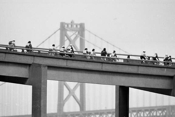 June 7, 1987: Thousands of bicyclists took a tour through San Francisco including Broadway Tunnel, Interstate 280 and the Embarcadero Freeway during the second Great San Francisco Bike Adventure.