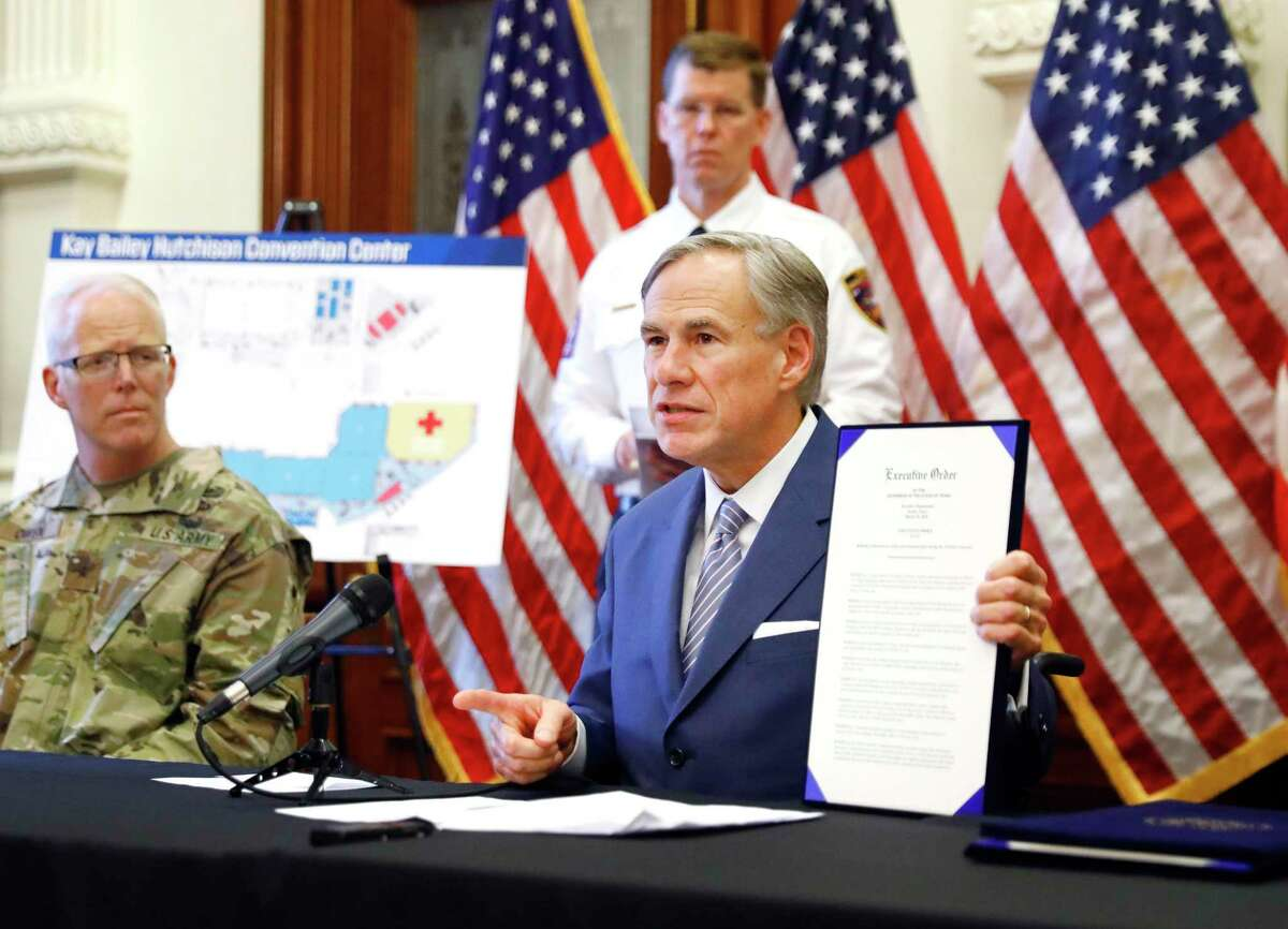 Gov. Greg Abbott at the Texas State Capitol in Austin, on Sunday, March 29, 2020. (Tom Fox/The Dallas Morning News/Pool)