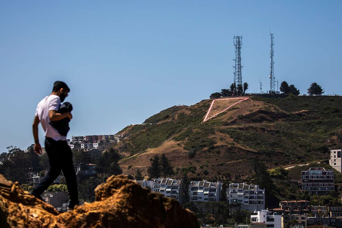 The Pink Triangle Memorial on Twin Peaks as seen from Corona Heights Park in San Francisco.