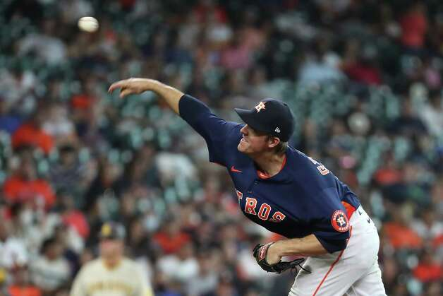 Houston Astros starting pitcher Zack Greinke releases a pitch against the San Diego Padres during the seventh inning of a major league baseball game Sunday, May 30, 2021, at Minute Maid Park in Houston. Photo: Brett Coomer, Staff Photographer / © 2021 Houston Chronicle