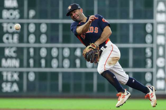 Houston Astros second baseman Jose Altuve throws out San Diego Padres center fielder Jorge Mateo during the eighth inning of a major league baseball game Sunday, May 30, 2021, at Minute Maid Park in Houston. Photo: Brett Coomer, Staff Photographer / © 2021 Houston Chronicle