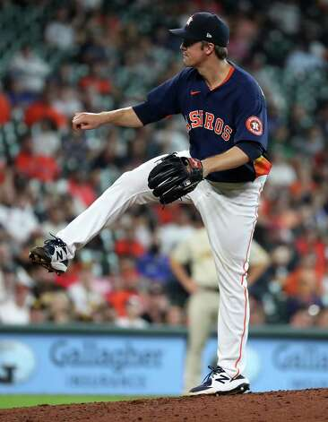 Houston Astros starting pitcher Zack Greinke follows through on a pitch against the San Diego Padres during the seventh inning of a major league baseball game Sunday, May 30, 2021, at Minute Maid Park in Houston. Photo: Brett Coomer, Staff Photographer / © 2021 Houston Chronicle